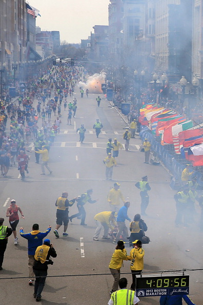 BOSTON - APRIL 15: A second explosion goes off near the finish line of the 117th Boston Marathon on April 15, 2013. (Photo by David L. Ryan/The Boston Globe via Getty Images)
