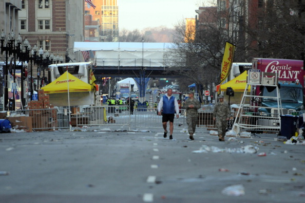 BOSTON, MA - APRIL 16: The marathon finish line bridge is seen on Boylston Street on April 16, 2013 in Boston, Massachusetts. on April 16, 2013 in Boston, Massachusetts. Security is especially tight in the city of Boston after two explosions went off near the finish of the Marathon, killing three people and injuring at least 141 others. (Photo by Darren McCollester/Getty Images)